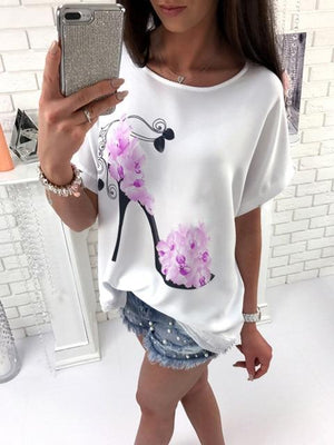2018 New Fashion Women Short Sleeve High Heels Printed Tops Beach Casualmodkily-modkily