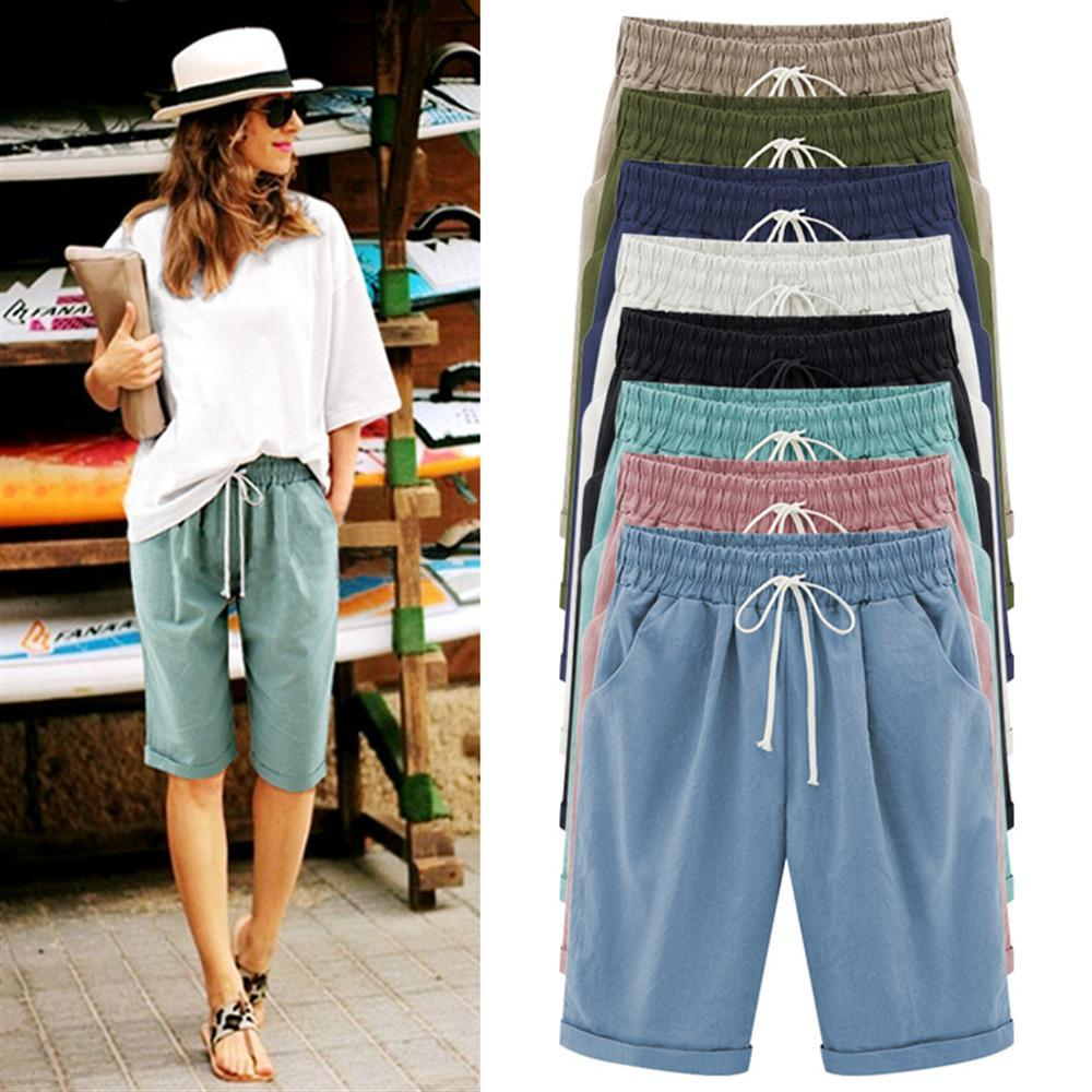 2018 Summer Women Shorts Loose Straight Knee Length Shorts Comfortable Casual Shortsmodkily-modkily