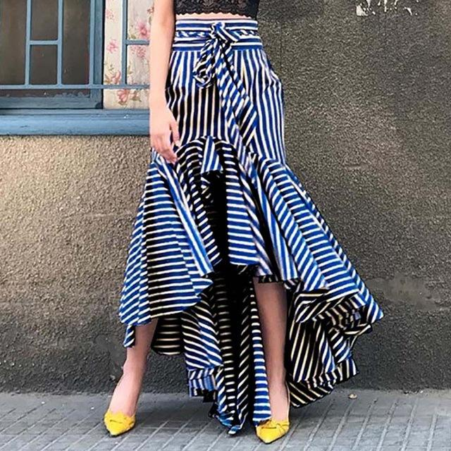 Boho Ruffle Asymmetrical Long Skirt Women Summer Blue Striped High Waistmodkily-modkily