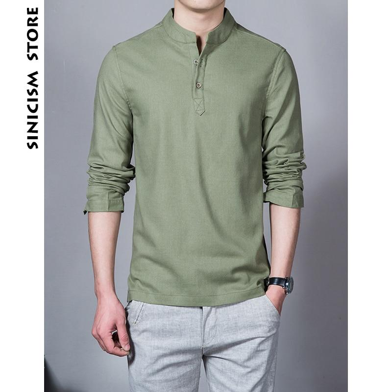 Sinicism Store Cotton Linen Men Shirts Man Long Sleeve Solid Color Standmodkily-modkily