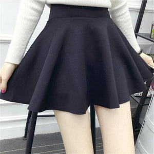 Korean High-waisted Solid Color Female Mini Pleated Skirt Stretch Large Swing Skirtmodkily-modkily