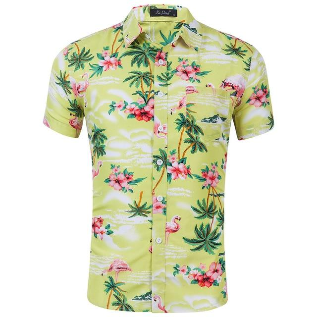 Hot sale 2018 Men Shirt Long Sleeve Fashion Floral Printing Male Shirtsmodkily-modkily