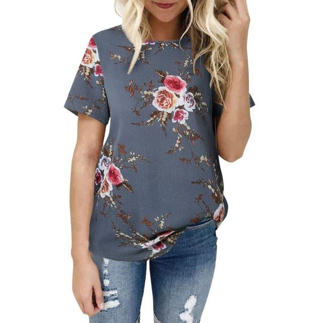 Women 2018 Ladies Blouse Summer Casual O neck Short sleeve Floralmodkily-modkily