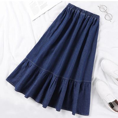Denim Skirts Women Solid Color Long Spring Summer A-Line High Waist Femalemodkily-modkily