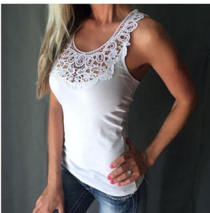 Women Lace Hollow Out Tank Top T Shirt 2018 Summer Sexy Sleevelessmodkily-modkily