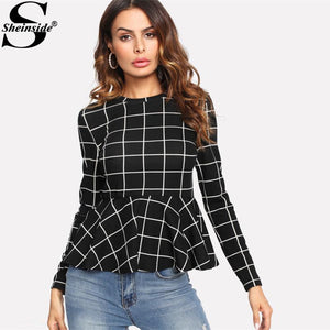 Black Plaid Grid Peplum Ruffle Blouse Round Neck Long Sleeve Fallmodkily-modkily