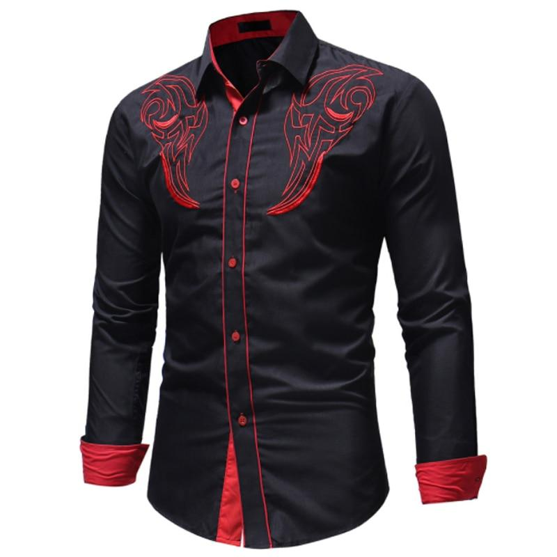 2018 Fashion Male Shirt Long -Sleeves Tops Embroidery Cotton Shirt Mens Hawaiianmodkily-modkily