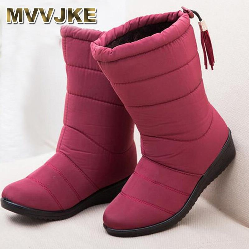 Women Boots black red Mid-Calf Riding Boots Russia Winter Waterproof Keepmodkily-modkily