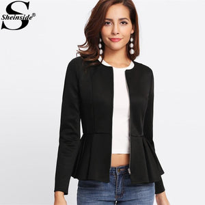 Zip Up Box Pleated Peplum Jacket Black Round Neck Ruffle Hemmodkily-modkily