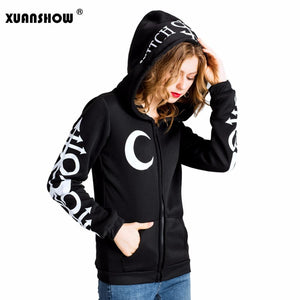 2018 Women Hoodies Clothes Gothic Punk Moon Letters Printed Sweatshirts Wintermodkily-modkily