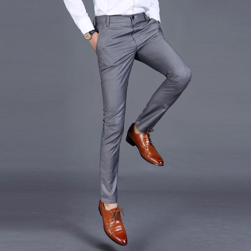 New 2018 High-quality Goods Cotton Men Pure Color Formal Business Suit Pantsmodkily-modkily