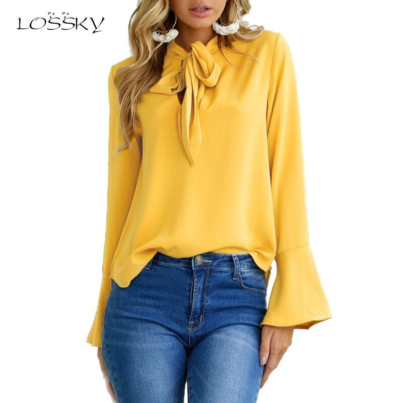 Women Flare Long Sleeve Chiffon Blouse Bow Irregular Solid Ruffle Fashion Blousesmodkily-modkily