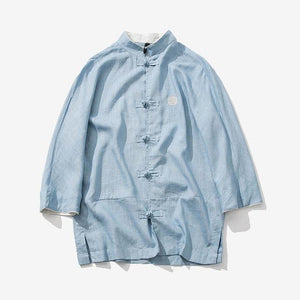 Sinicism Store Cotton Linen Embroidery Shirts Men Three Quarter Sleeve Shirts Chinesemodkily-modkily