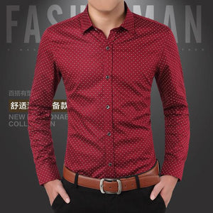 Brand 2018 Fashion Male Shirt Long-Sleeves Tops Polka Dot Printing Mens Dressmodkily-modkily