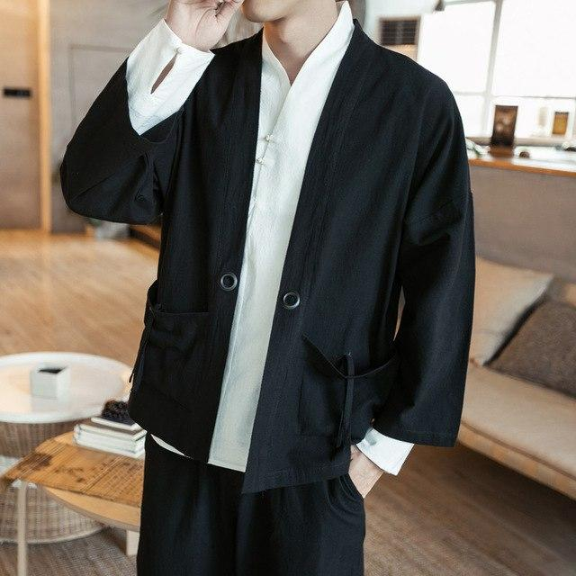 Sinicism Store Spring Mens Cotton Linen Shirts Japan Male Traditional Kimono Clothesmodkily-modkily