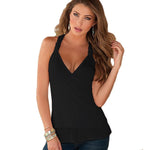 Sexy Women Ladies Polyester Blouse Sleeveless Black Lace V-Neck Tank Tee Vestmodkily-modkily