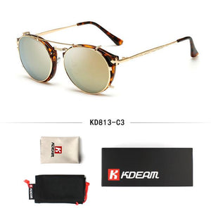 Kdeam Happy Clip On Sunglasses Men Removable Round Glasses Steampunk Women Carvemodkily-modkily