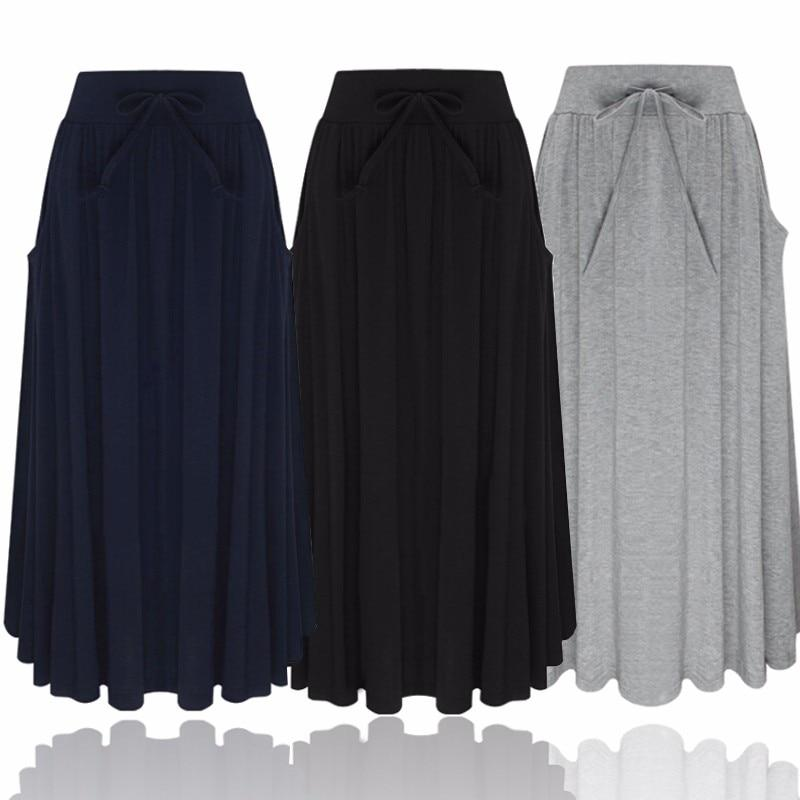 Women Long Skirt 2018 Elegants Elastic High Waist Pockets Pleated Skirtsmodkily-modkily