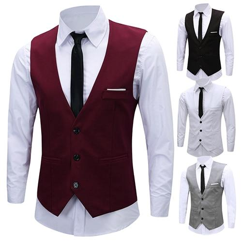 Men's Formal Business Slim Fit V-neck Solid Single-Breasted Vest Suit Waistcoat Newmodkily-modkily