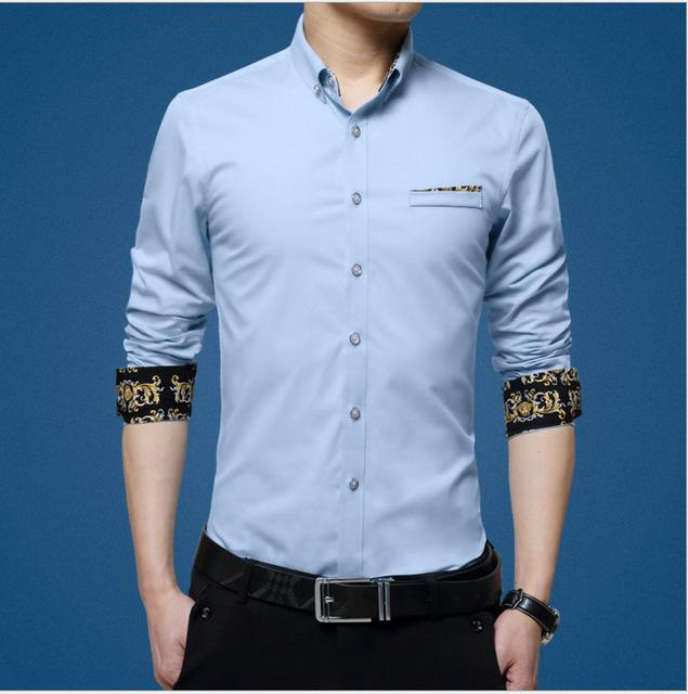 mwxsd brand casual Mens long sleeve cotton Shirt men slim Fit dressmodkily-modkily