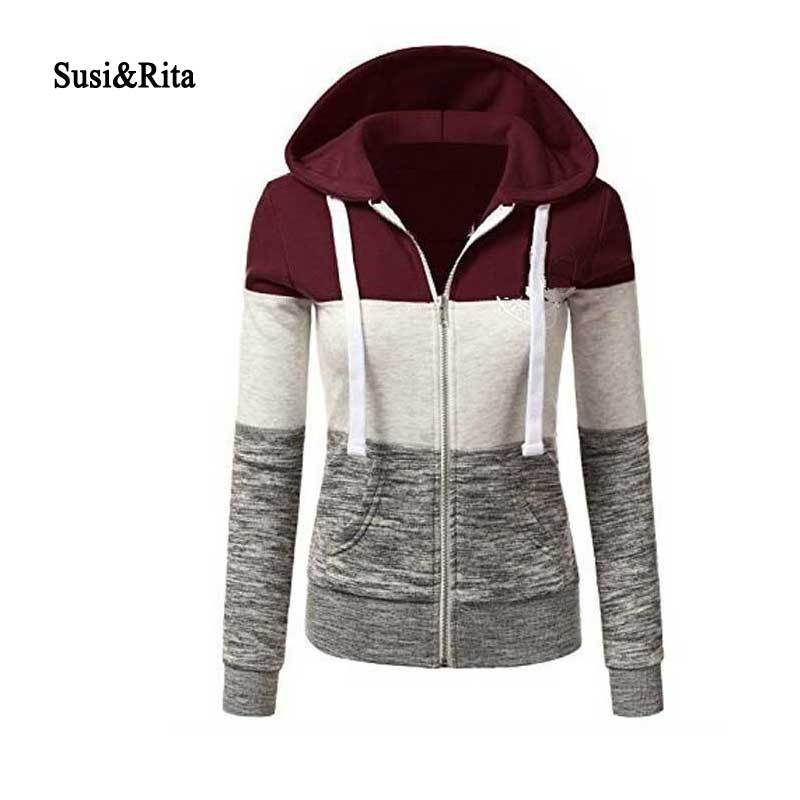 Susi&Rita Plus Size Autumn Hoodies Women Sweatshirts Casual Long Sleeve Patchwork 2018modkily-modkily