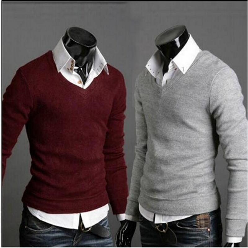 2018 Sweater Men Christmas Jumper Casual Knitted V Neck Pullover Sweaters Pullmodkily-modkily