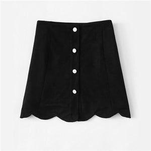 Scallop Hem Single Breasted Suede Skirt Mid Waist Plain Button Ladiesmodkily-modkily