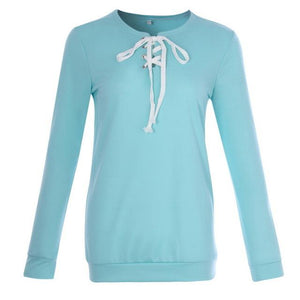 Casual Hoodies Women Fashion Lace Up Hoodies Sweatshirt Female Solid Pullovermodkily-modkily