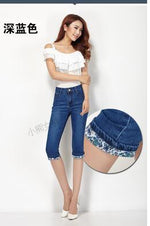 WZYCHDS Summer Skinny Jeans Capris Women Stretch Knee Length Denim Pants Highmodkily-modkily