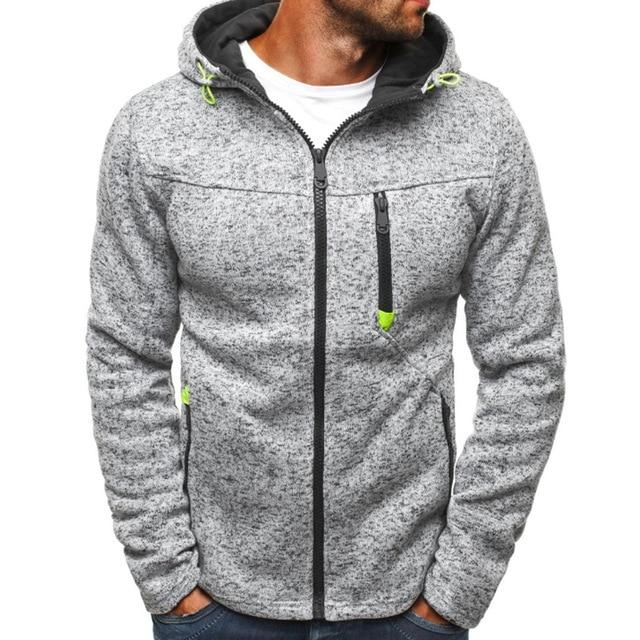 Men Fleece Warm Hoodies Jacket 2018 Autumn Winter Zipper Slim Fit Hoodedmodkily-modkily