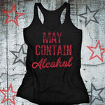Plus Size May Contain Alcohol Letter Printing Tanks O-Neck Summer Casual Loosemodkily-modkily