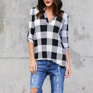 Autumn Big Yard Women Plaid Printed Blouses Female Tops Casual Loose Shirtsmodkily-modkily