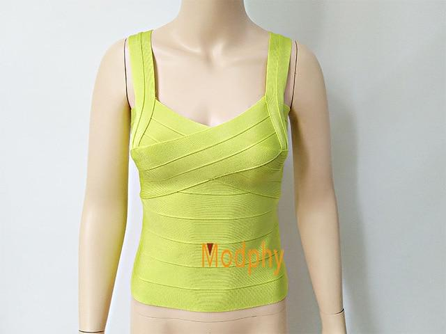 New 2018 solid color good elastic off white bandage deep V vestmodkily-modkily