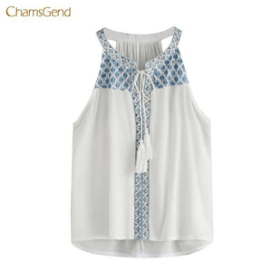 2018 Women Tank Tops Printed Casual Style Tassel Summer Shirts Loosemodkily-modkily