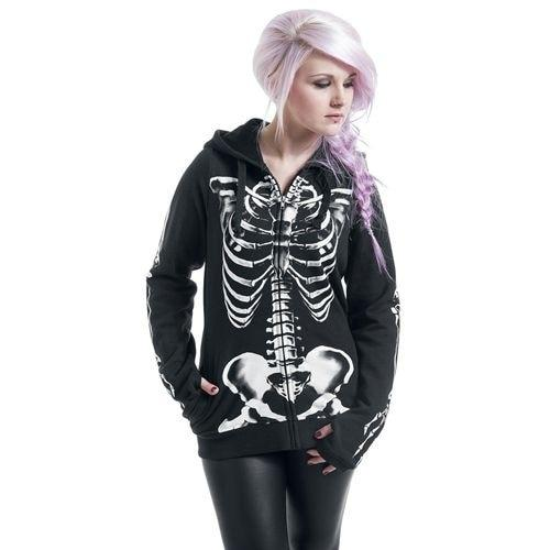 Women Fashion Skull Print Gothic Punk Long Sleeve Hoodies Plus Size Sweatshirtmodkily-modkily