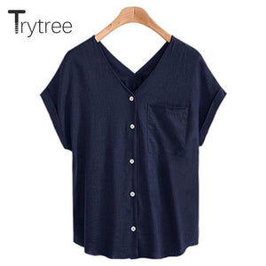 Trytree 2018 Summer Women Polyester Blouse Casual sexy shirt V-Nneck Black modkily-modkily