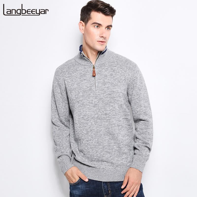 Top Grade New Autumn Winter Fashion Men Knitted Sweater Stand Collar Withmodkily-modkily