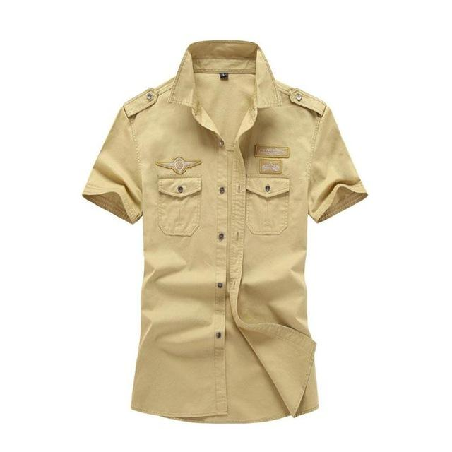 Men's 100% Cotton Cargo Shirt Short Sleeve Pocket Military Camisa Masculina modkily-modkily