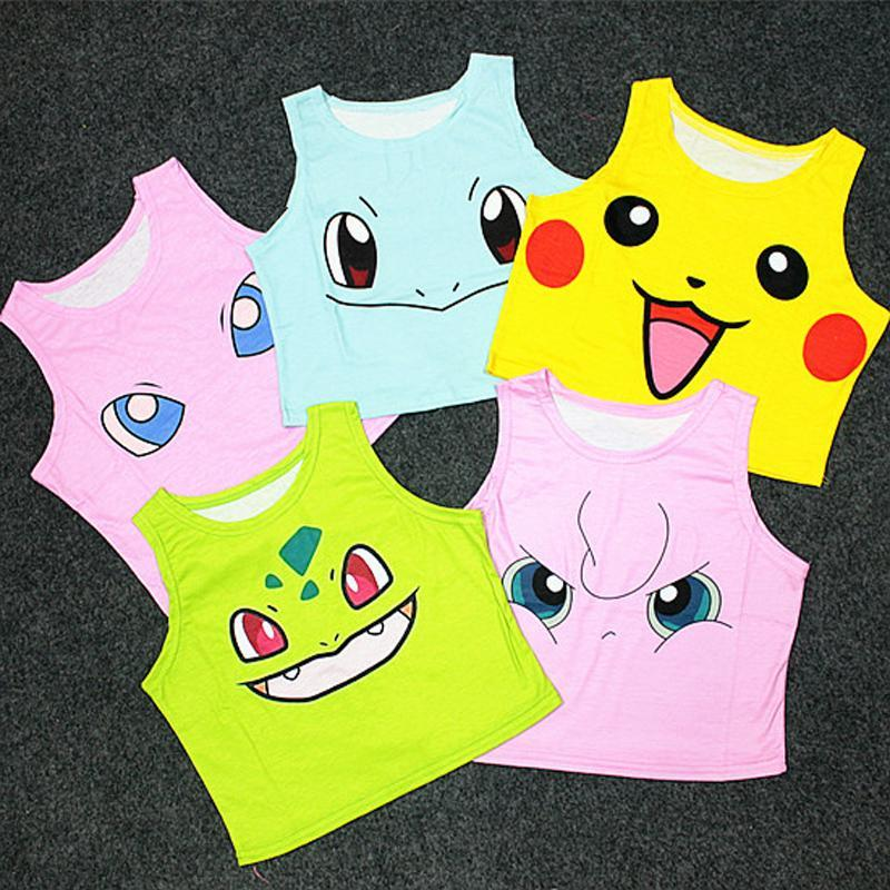 Women's Squirtle Jigglypuff Pikachu AA style Bustier Crop Top Sexy Camisole 3Dmodkily-modkily