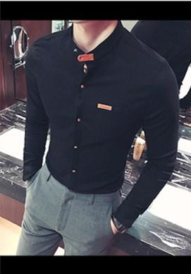 2018 New fashion brand Men business long-sleeved shirt quality T linenmodkily-modkily