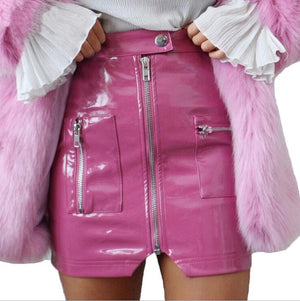 2018 summer new high waist zipper PU leather skirtmodkily-modkily