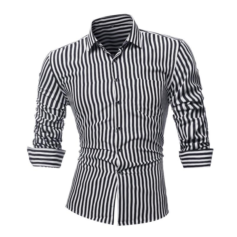 Men Shirt Brand 2018 New Spring Summer Striped Long Sleeves Mens Dressmodkily-modkily