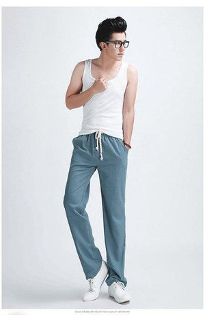 2018 Hot Spring Summer Mens Joggers Pants Comfortable Linen Casual Straight Menmodkily-modkily