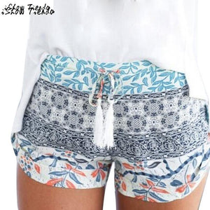 Summer Shorts Women Stylish Tassel Drawstring High Waist Printing Shorts Beach Stylemodkily-modkily