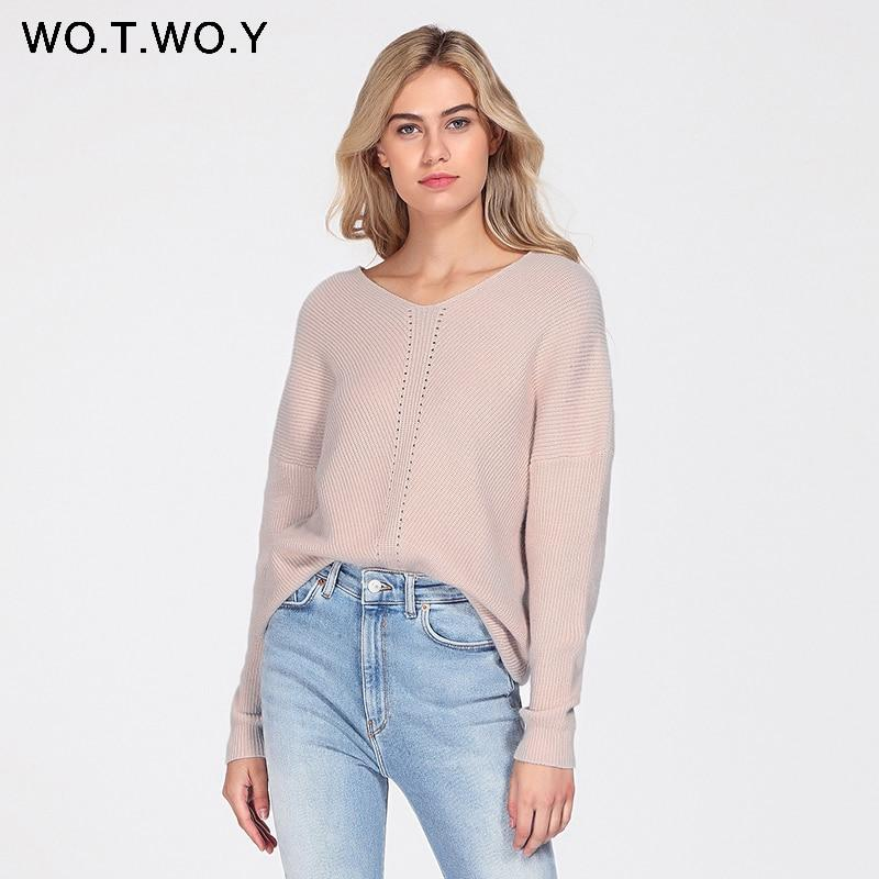 WOTWOY Autumn Winter Knit Pullovers Women Long Sleeve Basic Cashmere Sweater Womenmodkily-modkily
