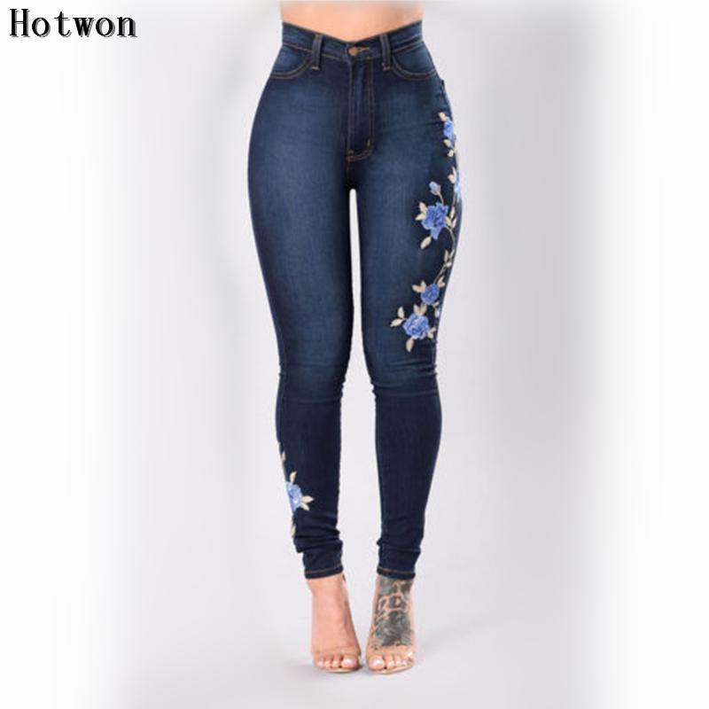 Embroidery Floral Women Jeans Slim Fit Stretch High Waist Pencils Denim Pantsmodkily-modkily