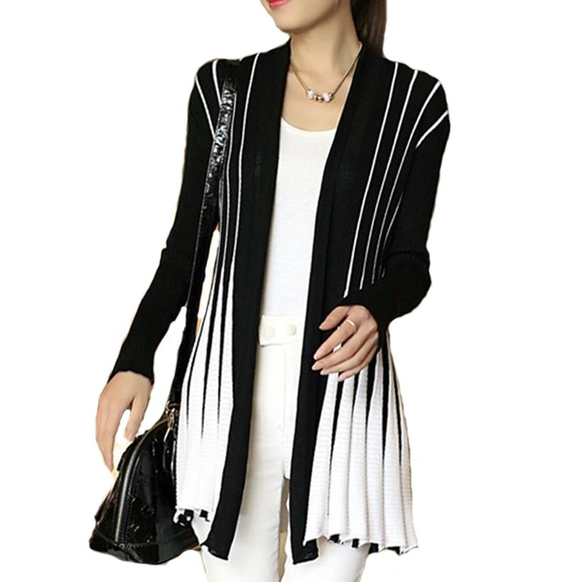 Women's Stripes Cardigans Poncho Female Medium-Long Wool Sweater Shawl Knitting SlimThin Cardiganmodkily-modkily