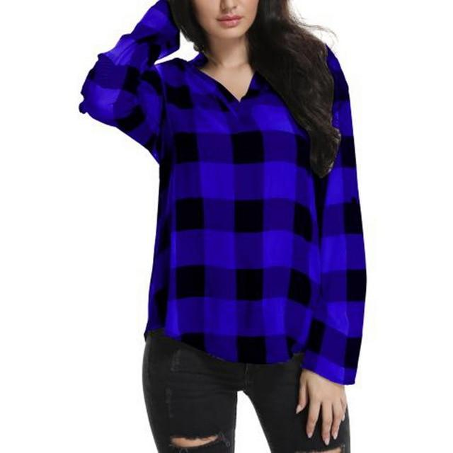 2018 New Autumn Women Plaid Printed Shirt Long Sleeve Casual Loosemodkily-modkily