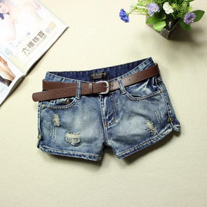 2018 Women's Denim Shorts Summer Low Waist Blue Ripped Washed 100% Cottonmodkily-modkily
