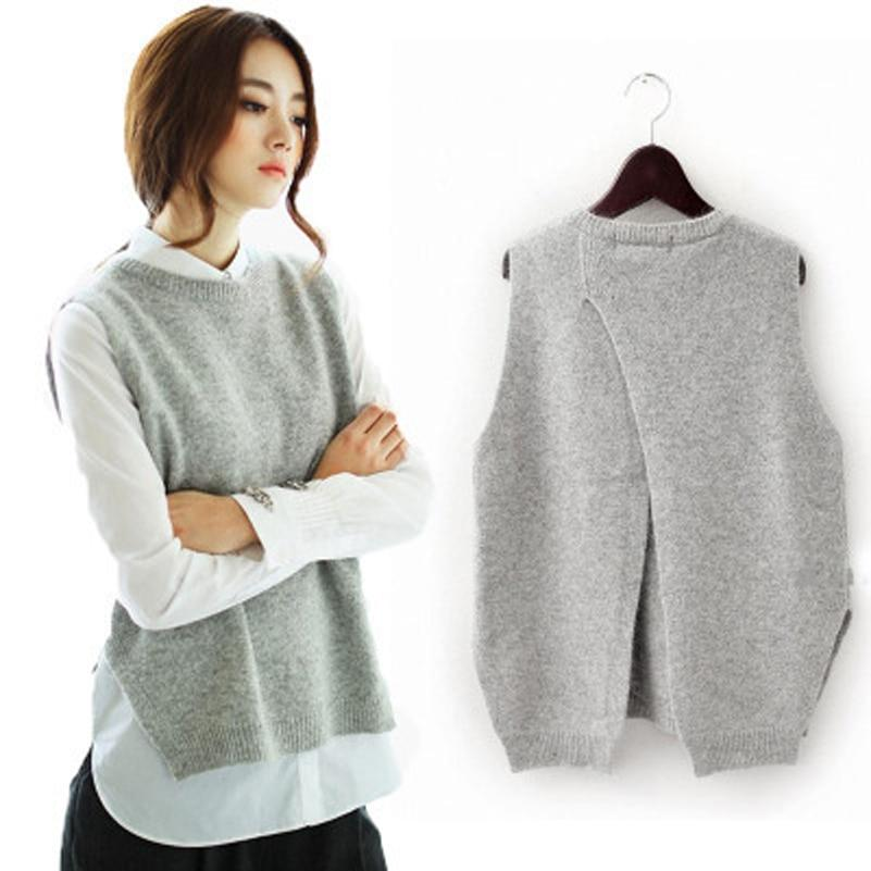 Women's Cashmere Knit Pullovers Vest Waistcoat Autumn Winter Sweater Vests Slim Sleevelessmodkily-modkily